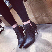 2015 autumn and winter leather boots tassel high heels martin boots women autumn pointed toe pumps 8 cm heel
