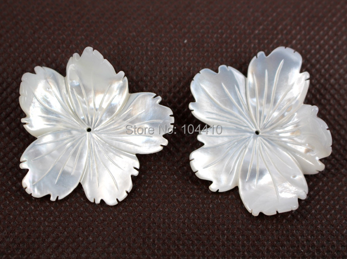 New Carved MOP White Shell Flower Beads Center hole Drilled Spacer Beads