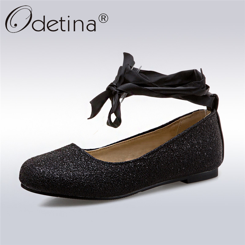 Odetina 2018 New Fashion Spring Ladies Sequined Cloth Ballet Flats Cross Tied Casual Shoes Female Lace Up Flat Shoes Big Size 43 odetina 2017 new designer lace up ballerina flats fashion women spring pointed toe shoes ladies cross straps soft flats non slip