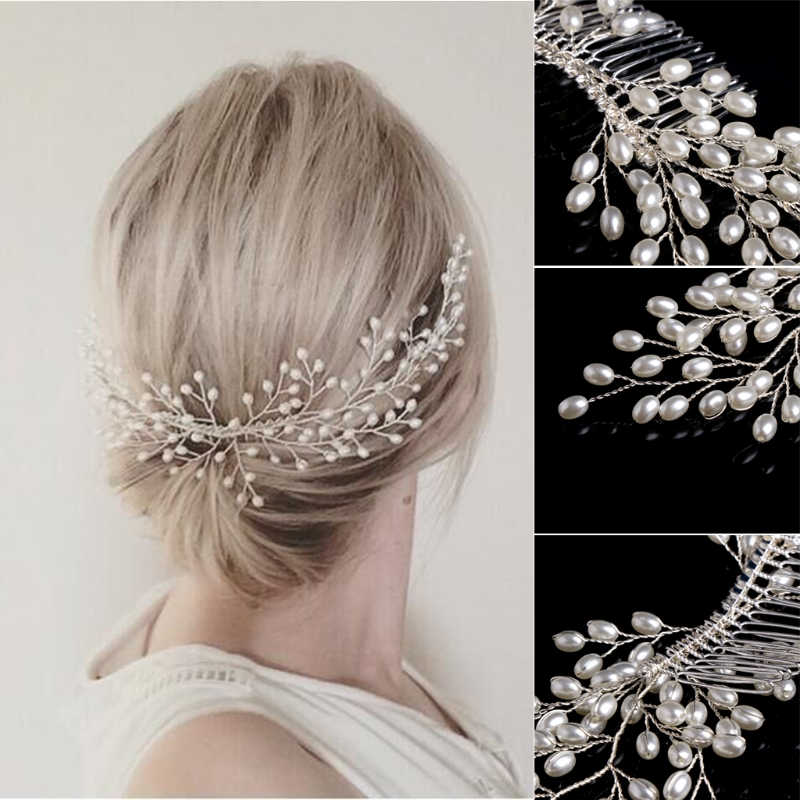 Bridal Faux Pearl Hair Comb Wedding Girls Hair Accessories Tiara Headdress Jewelry Party Hairpin acessorios para hair jewelry in Hair Jewelry from Jewelry Accessories