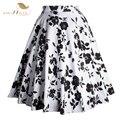 Faldas Para Mujer de Falda Maxi Estampado Floral Más El Tamaño XXL 2017 Nuevo blanco y negro rockabilly pin up vintage saia faldas falda de verano