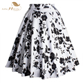 Skirts Womens Floral Print Maxi Skirt Plus Size XXL 2017 New White and Black Rockabilly Summer Skirt Pin Up Vintage Saia Faldas