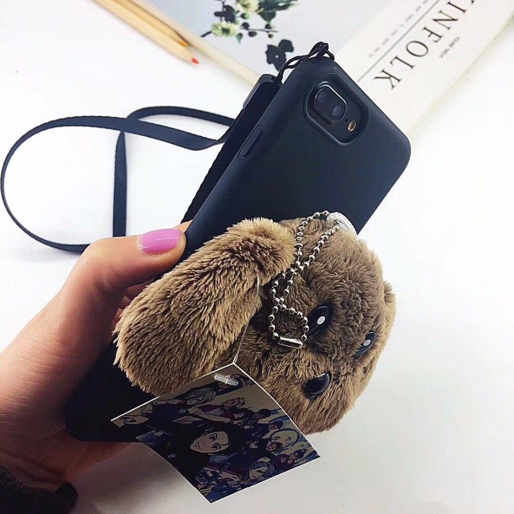 Luxury Case Cover for iphone7 7Plus x 8 8 6 6s Plus fur fluffy warm Casing Full Housing Etui Girl female Pocket Case Rope Bag