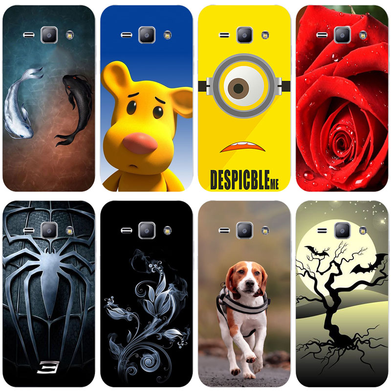 Cute Animal Cat Printing Case for Samsung Galaxy J1 SM-J100FN SM J100 J100F <font><b>J100H</b></font> Cover Relief Cartoon Design Funda Coque image