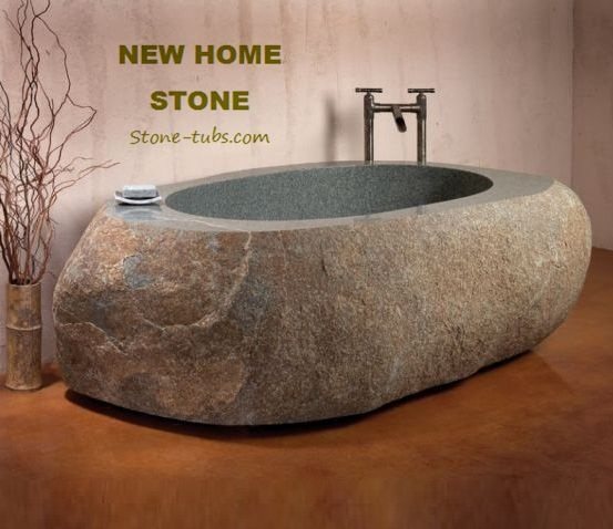 Merveilleux River Stone Bathtub Cut Out From One Piece Stone Block Irregular Natural  Stone Soaking Tub Unique