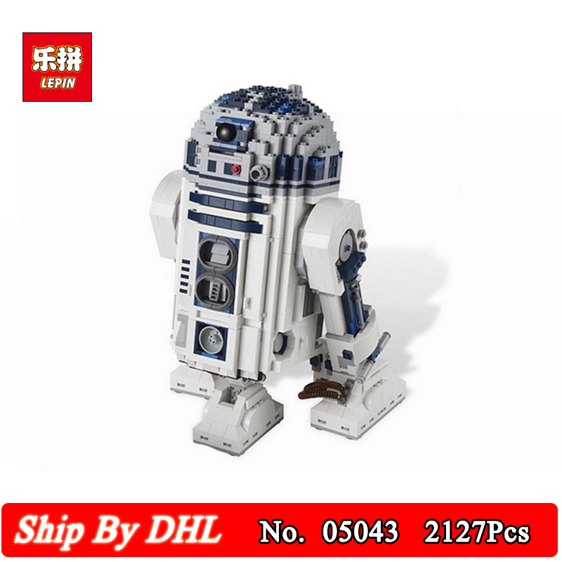 DHL LEPIN 05043 Genuine Star Series The R2 Robot Model Building Stacking Blocks D2 Out of print 2127pcs Bricks wars Boy Toys robot building blocks lepin 05043 2127pcs star series wars r2 d2 bricks model educational toys 10225 children boys toys gifts
