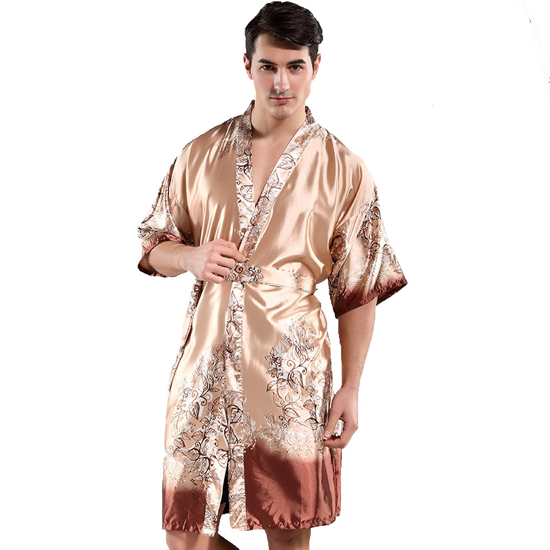 Men's Kimono Gown Printed Floral Home Wear Loose Bathrobe Rayon Robe Summer New Nightwear Chinese Sexy Sleepwear
