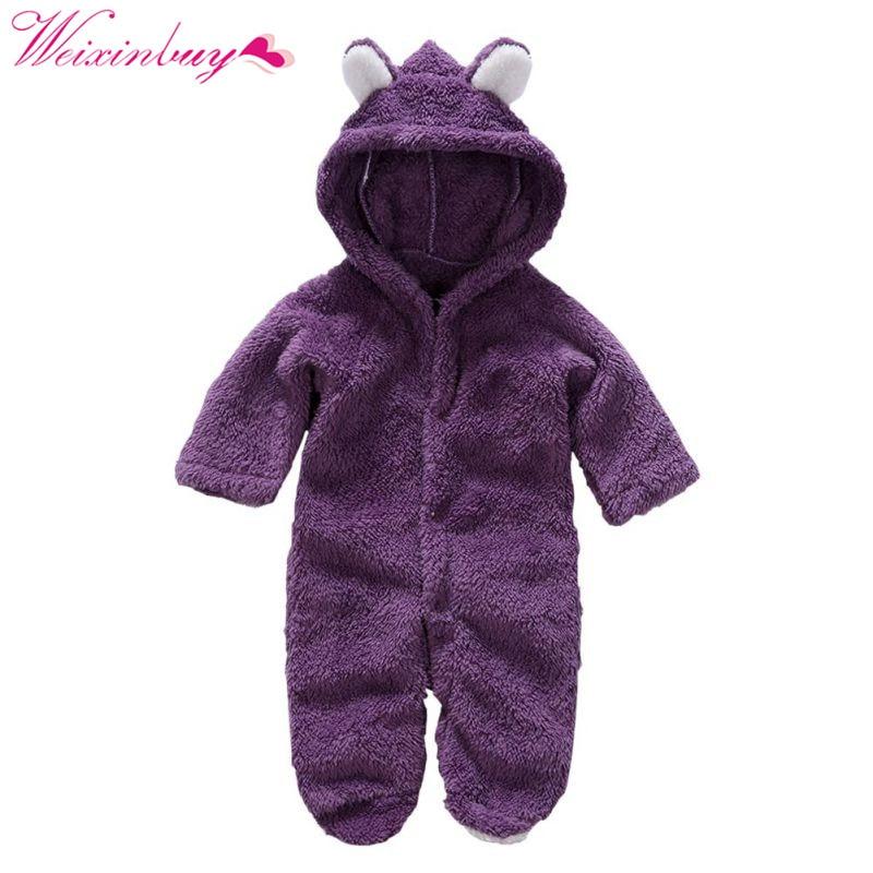 351e3269a91a21 Baby Pajacyki Wiosna Ubrania Dla Dzieci Flanela Baby Boy Ubrania Kreskówki  Zwierząt 3D Niedźwiedź Ucha Romper Kombinezon Ciepły Noworodka Romper