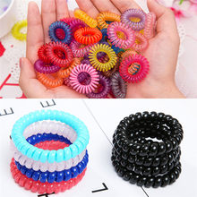 10Pcs Elastic Clear Telephone Wire Hair Bands Plastic Spring Gum For Hair Ties No Crease Coil Hair Tie Ponytail Hair Accessories(China)