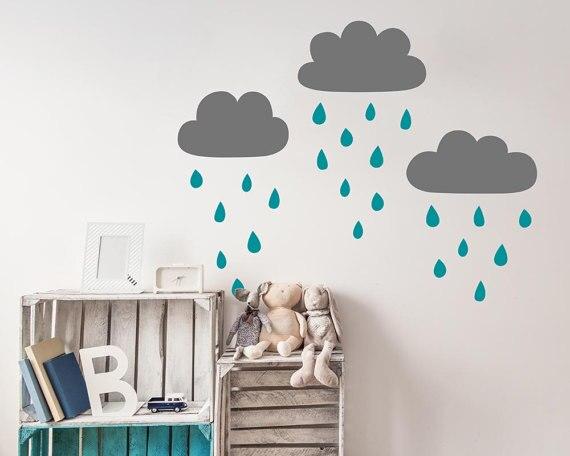 Muurstickers Slaapkamer Kind : Leuke cloud en regendruppels muursticker voor kinderkamer