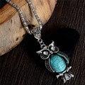 Venta al por mayor señora collar Vintage de moda collar lindo del buho de la joyería de la turquesa para los regalos pendiente largo
