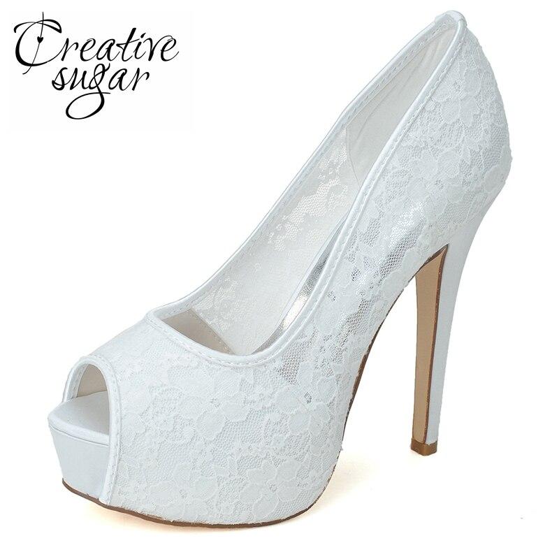 Creativesugar Soft lace see through platform high heels woman open toe  wedding party prom evening banquet 2e17b186638b