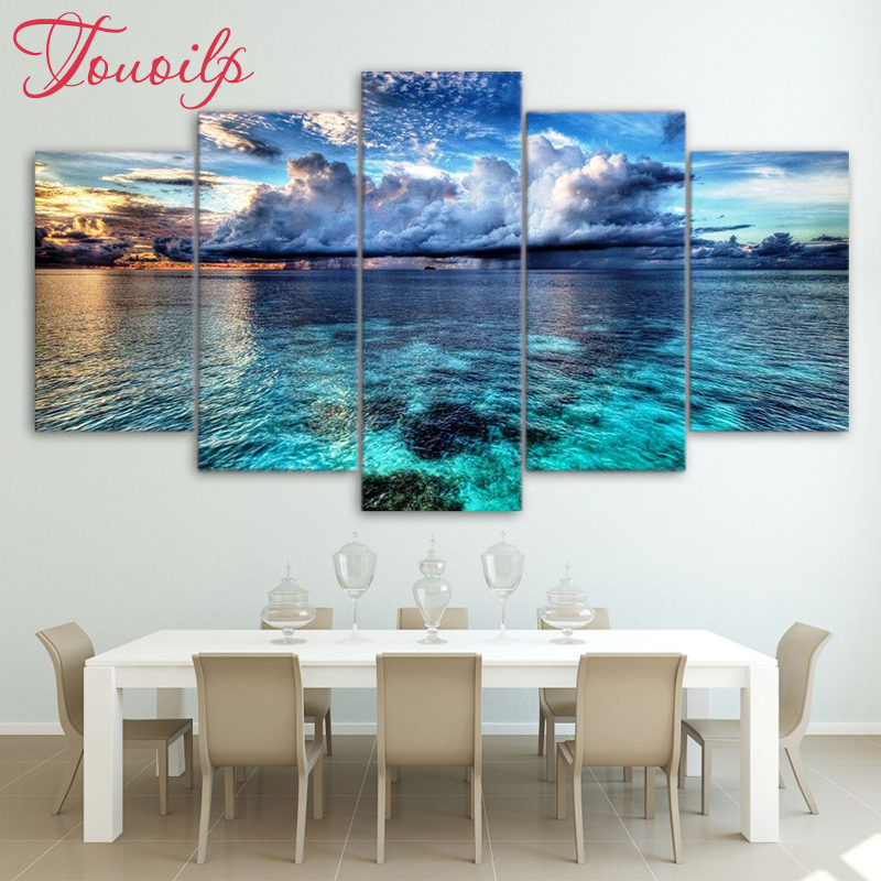 5d full spuare round 5 Panel Beautiful Sea Landscape 5d diamond painting 5d diy diamond embroidery