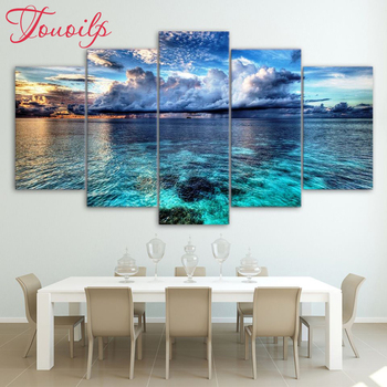 5d full spuare&round 5 Panel Beautiful Sea Landscape 5d diamond painting 5d diy diamond embroidery painting cross stitchsets фото