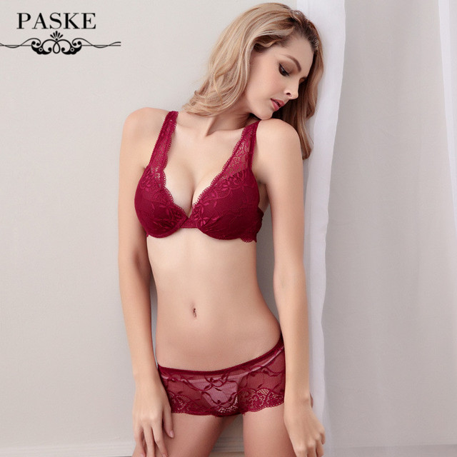 178ee94e0fbc France Brand Full Lace Wedding Bra & brief Sets Underwear Sexy V-neck Push  Up Bras and Transparent Women Intimates Panty Set 216