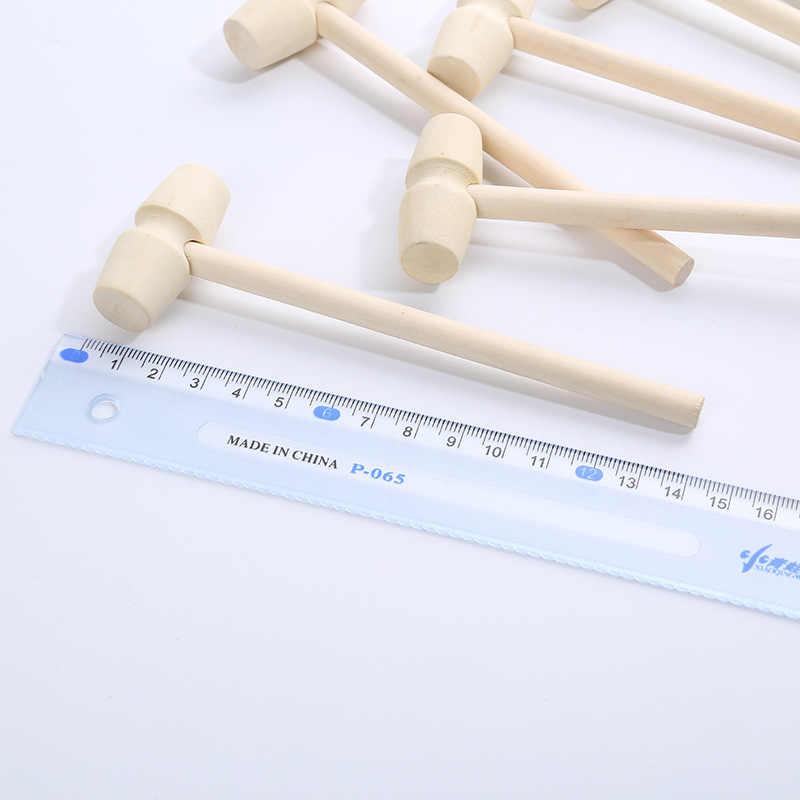 Atacado mini martelo criativo crianças cabeça plana brinquedo pequeno de madeira faia de madeira artesanal martelo bens acessórios montagem