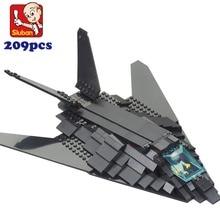 Paquete simple m38-0108 sluban bombardero f117 militar ladrillos avión de guerra de educación bloques de construcción de aviones de bombardeo leping diy