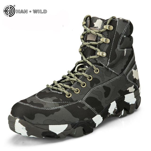 2017 Winter Männer Military Tactical Stiefel Leinwand Camouflage Desert Kampf Stiefeletten Armee Arbeitsschuhe