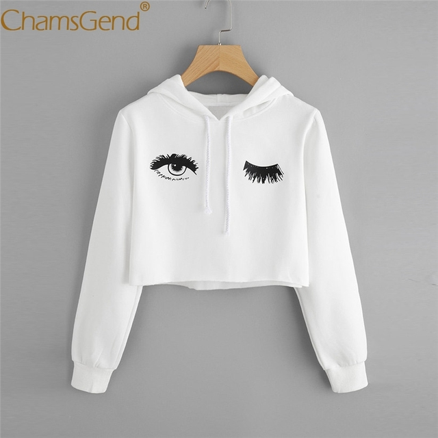 f93e3b46e910c Chamsgend Newly Design Women Trendy Big Eyes Print White Crop Top Hoodies Sweatshirt  Femme Shirt Outwear Drop Shipping 71011