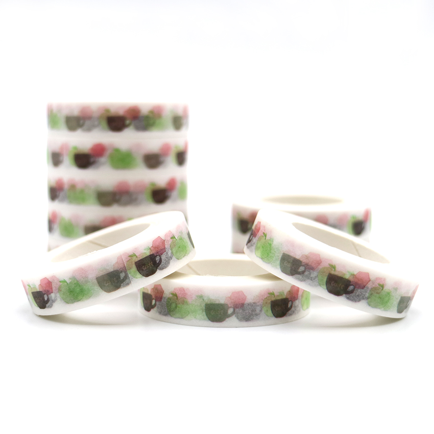 10m*10mm Coffee Cup Patterns Washi Tape Decorative Adhesive Masking Paper DIY Decorative Color Paper Adhesive Tape 1 PCS