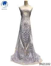 Beautifical african lace fabric with sequins silver sequin net lots of for dresses 3N211