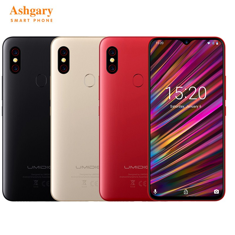 UMIDIGI F1 4G Smartphone 6.3 ''Android 9.0 Helio P60 Octa Core 2.0 GHz 4 GB RAM 128 GB ROM 16.0MP empreinte digitale 5150 mAh téléphones mobiles