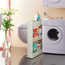 1pcs Gap Kitchen Storage Rack Shelf with Wheels High Quality Save Space 3 layers Movable Assemble Plastic Bathroom