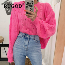 RUGOD Elegant O neck knitted women sweater Korean chic hollow out auturm oversized pullovers female Fashion green sueter mujer