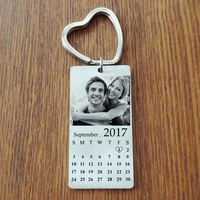 Stainless Steel Custom Photo Calendar KeyChain Engravable ID Dog Tag Charm Pendant Key Chain Dropshipping