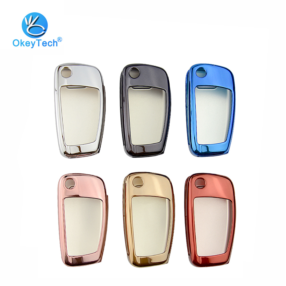 OkeyTech 3 Button Flip Folding <font><b>Remote</b></font> Car <font><b>Key</b></font> Shell TPU Protection Cover Case Holder for <font><b>Audi</b></font> C6 A7 A8 R8 A1 A3 A4 A5 Q7 <font><b>A6</b></font> <font><b>C5</b></font> image