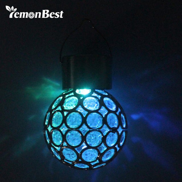 7 Color Changing Lamp Garden Solar Ed Hanging Light Gl Globe Lantern Ball Waterproof Pathways