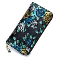 Rose Stereo Printing Ladies Purse Long women Wallet Genuine Leather Multi Card Imprint Flower Wholesale Women's Wallet Carteira