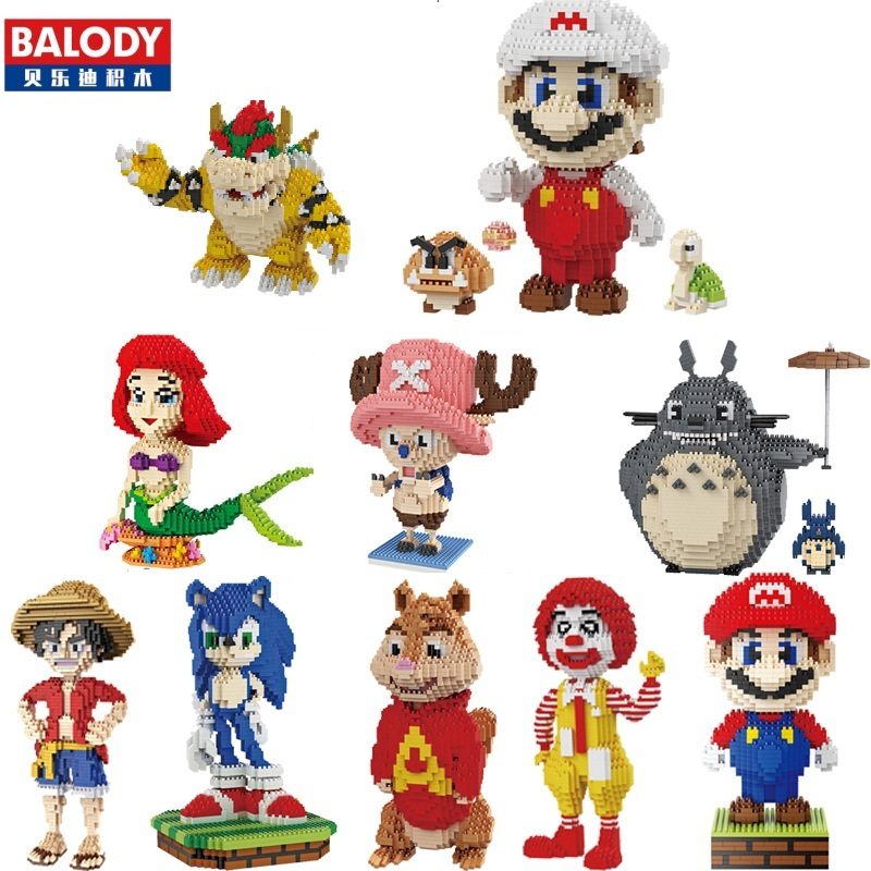 Balody Mini Blocks Big Size Mario DIY Building Toys Large One Piece Bricks Cute Auction Juguetes for Kids Toys 16001-16009 1500 2200 pcs big size plastic cute cartoon designs of mini nano blocks diamond mini block toys for children diy game