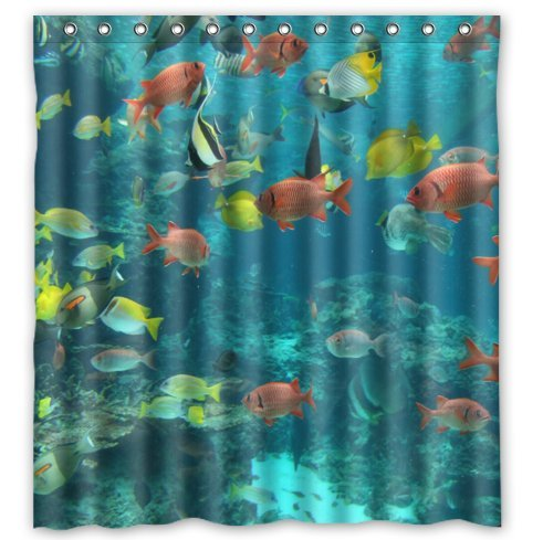 Custom Amazing Design Cover With Colorful Tropical Fish At The Aquarium Waterproof Polyester Fabric Bathroom Shower Curtain