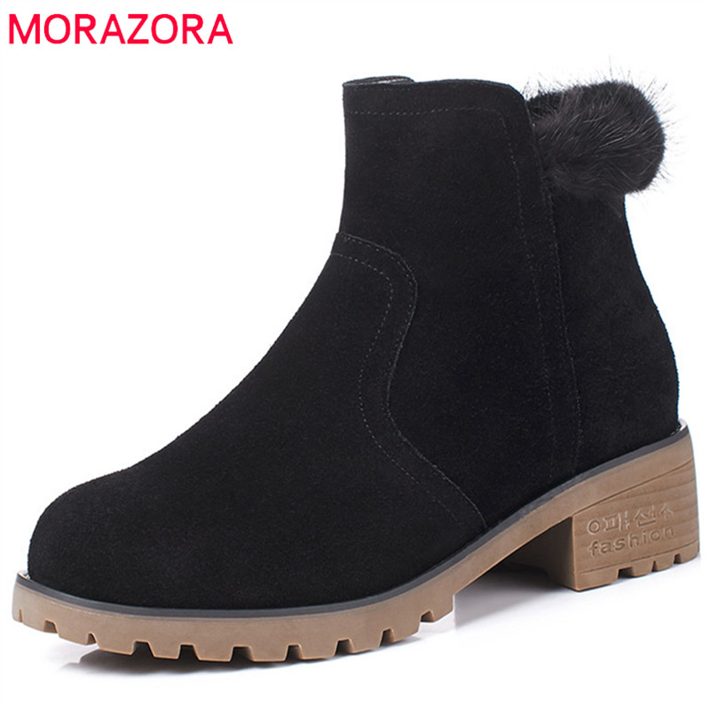 MORAZORA Ankle boots for women fashion shoes woman cow suede leather boots solid zipper platform womens boots size 34-40 morazora ankle boots for women fashion shoes woman cow suede leather boots solid zipper platform womens boots size 34 40