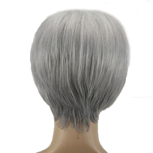 Image 5 - HAIRJOY Synthetic Hair Wig  Woman Gray White Short Straight Heat Resistant Wigs