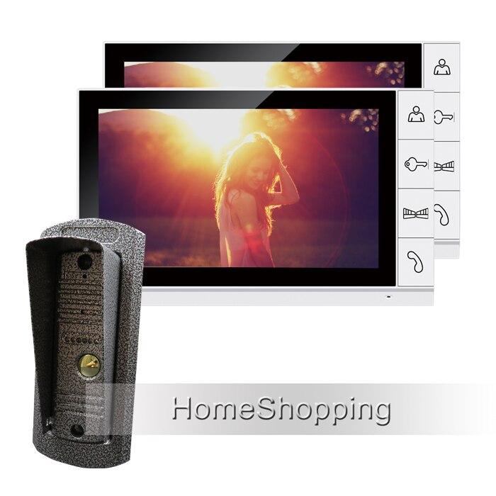 fca1d4b23 Nueva Marca Wired 9 blanco pantalla Vídeo portero puerta del sistema de  teléfono + 2 monitores + Cámara al aire libre de la visión nocturna del  metal envío ...