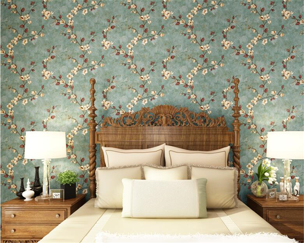 все цены на beibehang American country nonwoven wall paper 3D three-dimensional vintage garden flower bedroom tv background 3d wallpaper