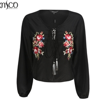 MCO Autumn Vintage Floral Emboridery Tassels Plus Size Women Blouse Retro Lace Up Big Womens Top Oversized Black Shirt 6xl 7xl