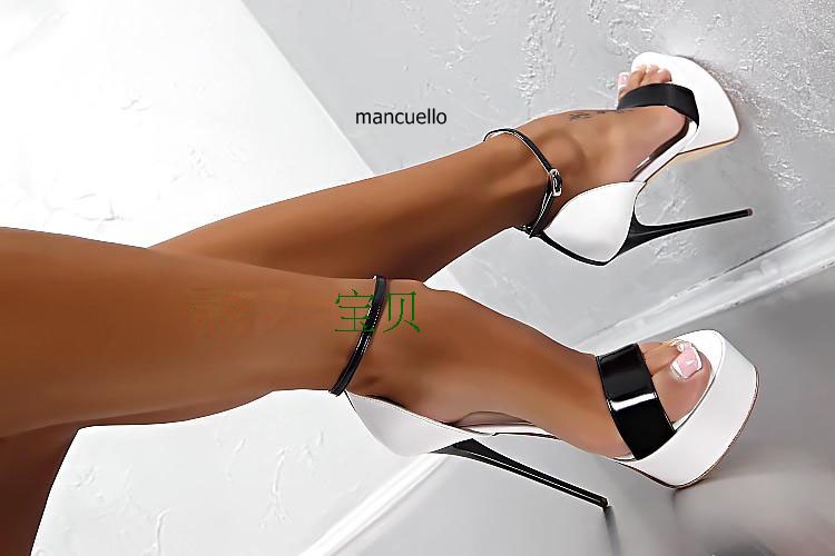 Sexy White and Black Color Block Line Buckle Style Thin Super High Heels Dress Sandals Women Open Toe Platform Sandals Hot Sell sweet women s sandals with color block and flower design
