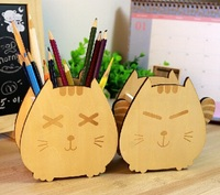 Wholesale Study Stationery 150 130mm Retro Japan Style My Lucky Cat Wooden Pencil Box Wooden Clean
