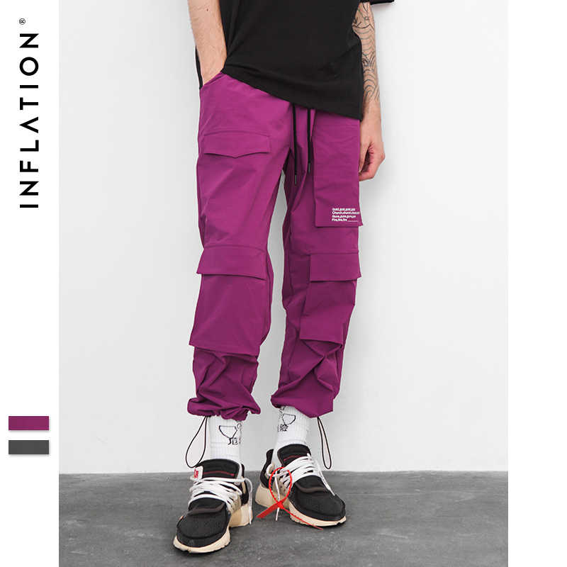 INFLATION Elastic Waist Windbreaker Jogger Sweatpants Harem Track Pants 2018 Spring/Autumn Hip Hop Casual Street Trousers 8853W