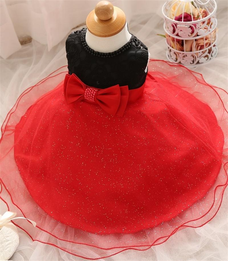 Red White Baby Girls Dresses Toddler Girl Clothing For 0-2 Y Birthday Party Lace Tutu Dress Children Summer Kids Formal Dresses