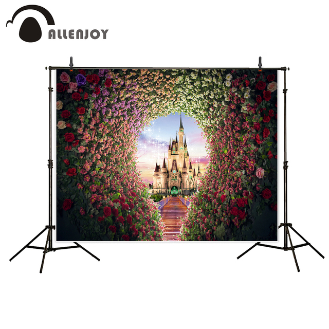 Allenjoy photo background photography castle flowers wedding Princess for children photo professional backdrop for photo studio