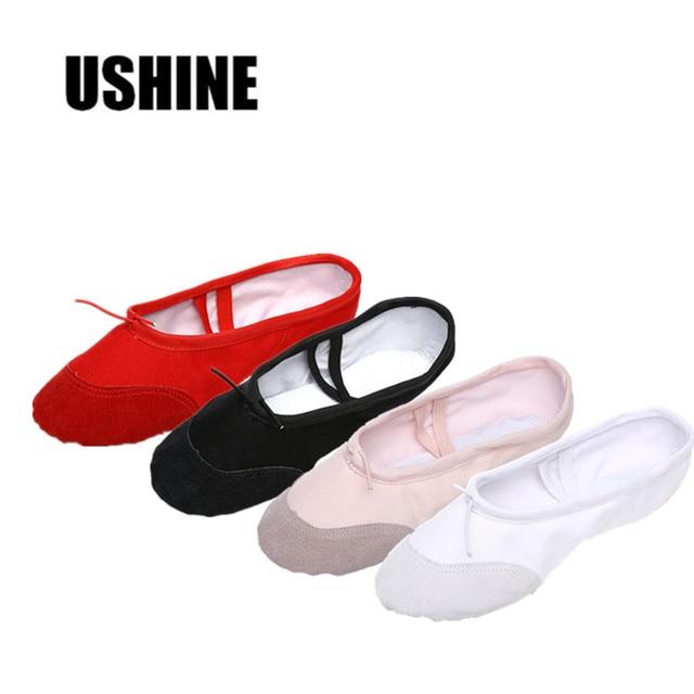 USHINE Yoga Ginásio plana chinelos Branco Preto Branco Rosa Lona Ballet Sapatos de Dança Para Crianças Meninas Mulheres Professor