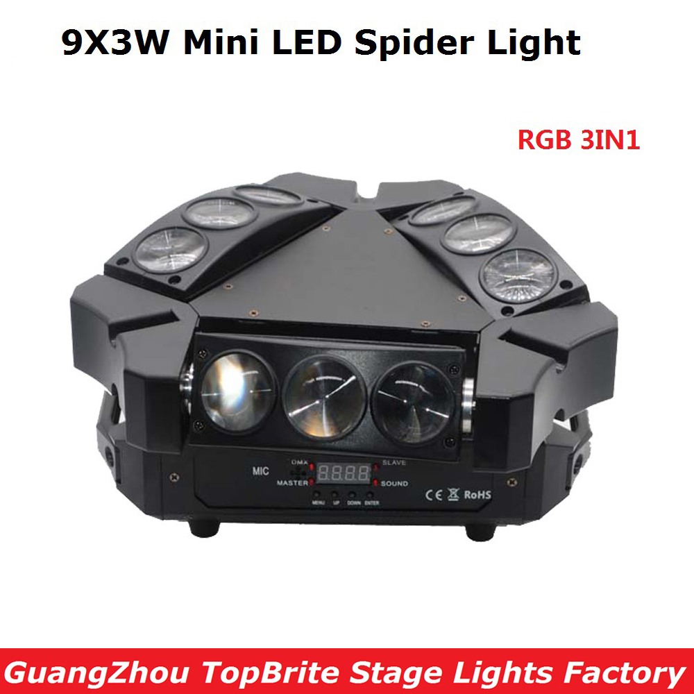 2017 New Arrival Mini LED 9X3W Spider Light RGB 3 Colors 12/43CH DMX Stage Lights Dj Disco Led Spider Moving Head Beam Lights