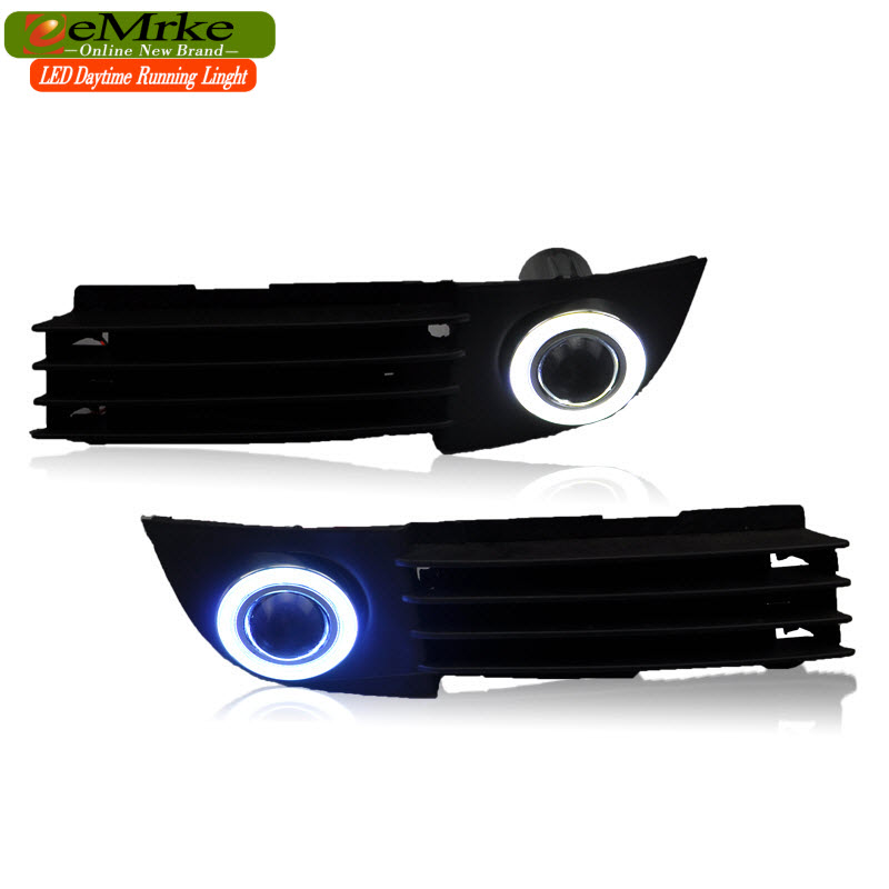 EEMRKE Car Styling For Audi A6 C5 2003 2004 COB Angel Eyes DRL Daytime Running Lights H11 Halogen Bulbs 55W Fog Light Headlamp car bumper grill kit with led fog lights drl angel eyes wires for bmw e60 e61 5 series 525i 530i 545i 550i xi 2004 2007 pdk618
