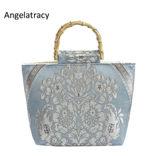 Angelatracy New Handmade Luxury Bag Women Floral Handbag Jacquard Top-handle Bags Bamboo Handle Tote Bag Vintage Cheongsam цены