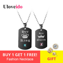 Uloveido Black Necklaces Pendants Her King and His Queen Black Titanium Couple Necklace Stainless Steel Pendant