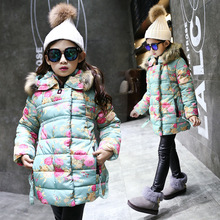 цена на 2017 girls clothes new winter girl fur collar flower cotton and white down with belt coat children sets snow wear cotton jacket